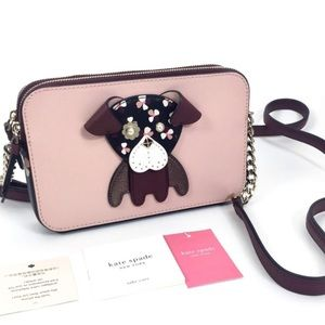 Kate Spade Floral Pup Red Leather Crossbody NWT